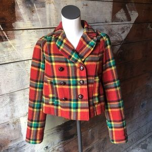 Free People Plaid Red & Yellow Pea Coat Size 4